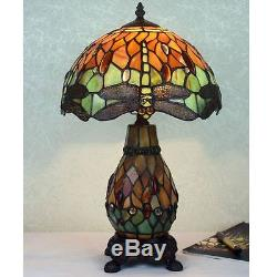 10 Amber & Green Dragonfly Art Deco Tiffany Style Stained Glass Table Lamp