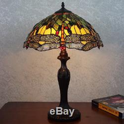 16 Amber & Green Dragonfly Art Deco Tiffany Style Stained Glass Table Lamp