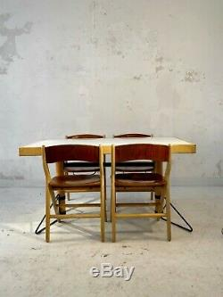 1980 MARC HELD 1 TABLE 4 CHAISES IBM SPACE-AGE MODERNISTE PLYWOOD Eames Perriand