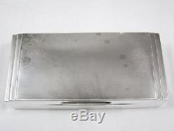 Art Deco Sterling Silver & Wood Lined Table Top Cigarette Trinket Box dated 1936