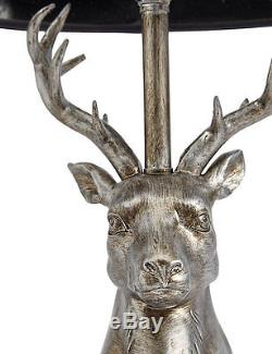 Luxury Black and Silver Stag Table Lamp Art Deco Antler Antique Large Sculpture
