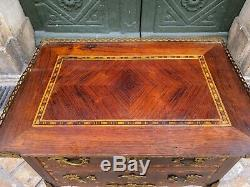 Table d'appoint guéridon marqueterie style Transition